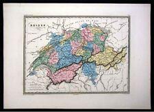 1860 Malte Brun Map - Switzerland Alps Geneva Zurich