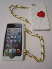 White Cliche Purse Hand Bag Case & Strap iPhone 5 5s Patterned Silicone Full