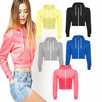 Crop Hoodie Ladies Womens Sweatshirt Top Hooded Plain Pullover Casual Jumper