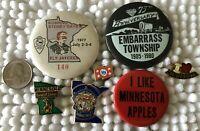 Lot of 7 Minnesota Souvenir Pins Pinbacks Buttons Embarrass Ely State Flag Seal