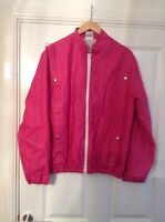 VINTAGE 80s 90s CRAZY COLOURFUL HOT PINK ANORAK JACKET SIZE 14 -16 NEW