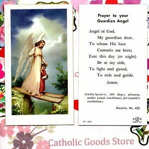 Guardian Angel with Girl & Prayer - Paperstock Holy Card