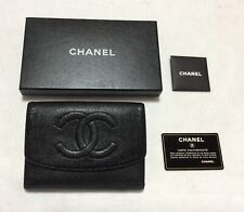 CHANEL Authentic CC Logos Quilted Long  Wallet Purse  Leather Black