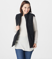 Denim & Co. Reversible Quilted to Sherpa Zip-Front Vest - Black - X-Large
