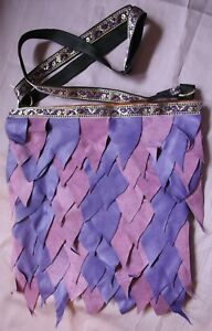 Handmade Dragon Scale Purple Suede & Leather Bag Pagan Steampunk Wiccan Hippy
