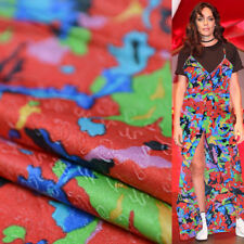 Abstract colorful jigsaw print silk blending cotton fabric thick 19momme,Sct341