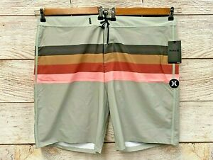 "Hurley Board Shorts Mens Size 44 Striped Phantom Jetties 20"" Board Shorts New"