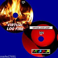 SOOTHING VIRTUAL LAVA LAMP AND LOG FIRE 2 DVD SET FLATSCREEN PLASMA LED TVs NEW
