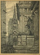 WALL STREET NEW YORK CITY LEON DOLICE PENCIL SIGNED ETCHING PRINT Vintage
