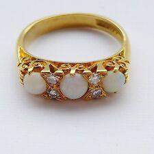 Calidad Vintage Estilo Victoriano Ópalo & Diamante Anillo 18CT oro Size UK L EE. UU. 5 3/4