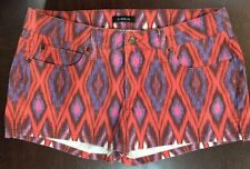 Bebe pattern denim shorts Boho Festival Size 30 orange/blue/pink/purple
