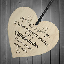 Handmade Wall Plaque Childminder Gift 10cm Hanging Wooden Heart Shabby Chic