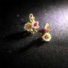 Boucles d'Oreilles Dormeuses Doré Email Vert Blanc Rose Bourgeon Marguerite L2