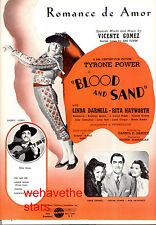 "BLOOD & SAND Sheet Music ""Romance De Amor"" Tyrone Power Rita Hayworth"