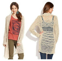 LUCKY BRAND Sz XS OPEN FRONT CARDIGAN with KNIT PATTERN DETAIL BACK Beige NWT