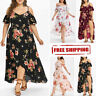 Plus Size Women Summer Boho Casual Loose Short Sleeve Ladies Flower V-Neck Dress