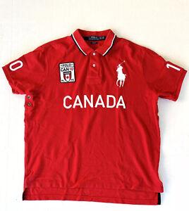 Men's Polo Ralph Lauren Big Pony Canada Flag Spell Out Red Shirt sz 2XL XXL