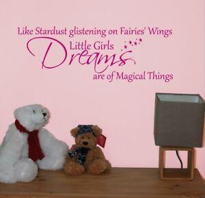 Little Girls Dreams Fairies Wings Wall Quote Vinyl/Sticker Nursery/Bedroom