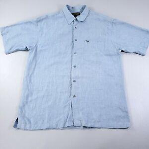 Donald Trump Signature Collection 100% Linen Shirt Large Button Up Short Sleeve