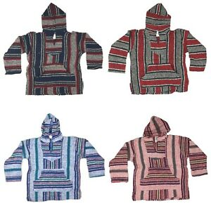 Hoodie Hippie Surfer Mexican Poncho Sweater Assorted Colors Unisex Kids 6 years