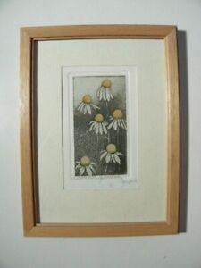 Schöne kleine Vintage Radierung - Motiv: Kamille /Camille -  Sign. Michel Leroux