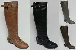 """BRECKELLE'S """"OUTLAW-91"""" KNEE HIGH FASHION BOOTS RIDING STYLE REAR ZIPPER NEW"""