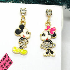 Crystal Betsey Johnson Women Stand Earrings New Color Enamel Cute Mickey Minnie