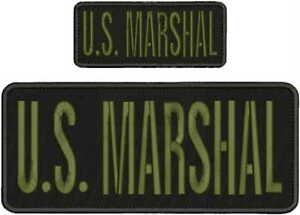 U.S. MARSHAL EMBROIDERY PATCH 4X10 & 2X5 HOOK ON BACK BLK/OD GREEN