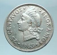 1963 DOMINICAN REPUBLIC Silver Liberty LIBERTO Arms Antique Silver Coin i78767