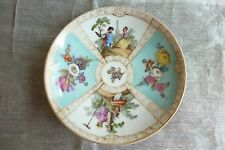 MEISSEN ANTIQUE RARE ORNATE SMALL CHINA  PLATE - SIGNED CROSSED SWORDS