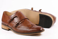 "Brown Men's Wing Tip Monk Strap Oxford Dress Shoes ""PREOWNED"""