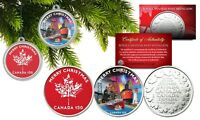 CHRISTMAS Canada 150 Anniversary Set of 2 RCM Medallion Coins with XMAS CAPSULES