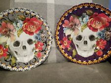 222 Fifth Marbella Skull And Flower Halloween Salad Plates Set Of 2 Gray And...
