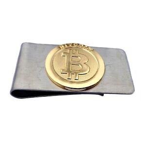 Geldklammer BTC coin Geldclip Geldscheinklammer Geldspange BTC teil vergoldet