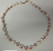 Old Victorian Roses Hand Painted Beads Porcelain Necklace