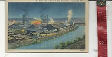 Vintage linen Night View Republic Steel Corp.Youngstown Ohio post card FREE SHIP