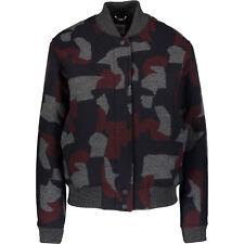 LACOSTE LIVE! Women's Navy & Grey Camouflage Wool Blend Bomber Jacket, Medium