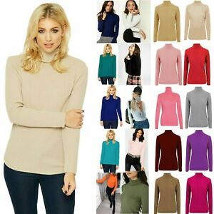 Ladies High Roll Polo Neck Top Women's Knitted Ribbed Jumper Sweater New UK