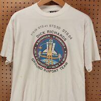 vtg usa made single stitch t-shirt Dick Richards XL 80s 90s nasa astronaut