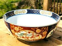 Vintage 1960's Gold Imari Hand painted Floral and Peacock Large Porcelain Bowl