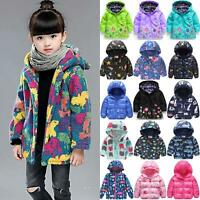 Kids Baby Girl Padded Winter Coat Hoodies Quilted Jacket Top Warm Hooded Outwear