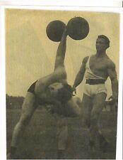 JOHN GRIMEK watches friend Press CYR Dumbell Bodybuilding Photo B&W finishing