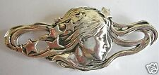 ART NOUVEAU STYLE /MUCHA SILVER LADY STARS BROOCH/PIN NEW