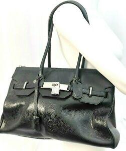 Smith & Canova Black Shoulder Bag tote Large Leather two strap
