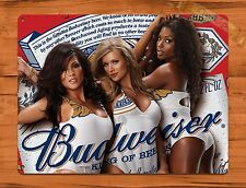 "TIN-UPS TIN SIGN ""Bud Girls Calender Girl"" Vintage Pin Up Beer Budweiser"
