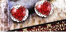 RED LOVE HEART CABOCHON GLASS STUD EARRINGS 12MM