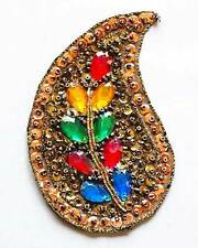 2 Hand-Beaded Appliques. Rainbow Paisley Embroidered Patch From India