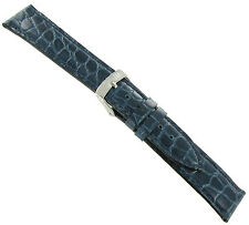 19mm Morellato Crocodile Grain Navy Blue Padded Stitched Watch Band Strap 751