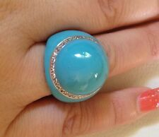 Sterling Silver & Enamel Party Ring Size 8 Turquoise