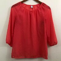 Womens X Small XS Old Navy Long Sleeve Blouse Top Shirt Red Sheer